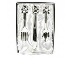 Fugurines Gifts UK CG427 - Cubertería infantil con diseño de oso bañada en plata