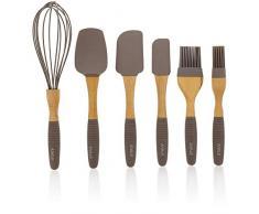 6 piezas Juego de Gadgets de cocina - cocinar y hornear utensilios de cocina suministros de silicona con mango de madera de haya, incluye espátula para girar, batidor de huevo, and hilván cepillos