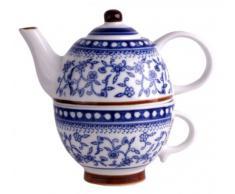 Tetera de porcelana con taza - azul/blanco - jarra - jarra para café - Taza de porcelana