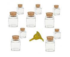 Viva Haushaltswaren G2080050/Set1/X - Lote de 10 tarros de Cristal para Especias (50 ml tapón de Corcho Embudo Amarillo)