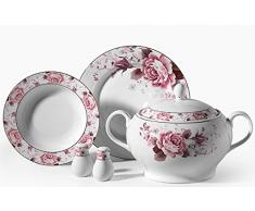 Lujo 86 piezas piezas Vajilla KORKMAZ Porcelana essservice Plato Set boda Compromisos Cumpleaños KH de a8022