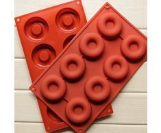 YOKIRIN Molde Silicona Accesorio para Fondant Tarta Chocolate Moldes de Decoración ,moldes Azúcar Pasteles, moldes de jabón de tocador(Donuts)-Marrón