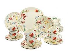 Creatable 19721Â Serie Spring Floral, Vajilla, Porcelana, Multicolor, 40Â x 32,5Â x 32,5Â cm, 30Â Unidades