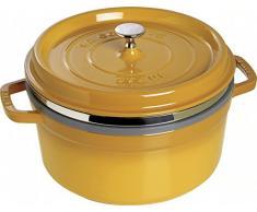 Staub 1133812 - Cocotte redonda con cesta vapor, color amarillo mostaza, tamaño 26 cm