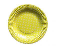 Kanggest 10Pcs 18CM Platos de Papel Desechables Polka Dot Bandeja Pastel de Pan Platos de Barbacoa Para la Fiesta (Amarillo)