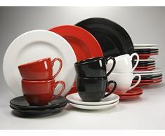 Creatable Casa Alegre - Vajilla de 30 piezas, color negro, rojo y blanco
