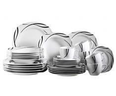 Domestic 920463 Oslo - Vajilla de porcelana de 6 servicios (30 piezas), color blanco y negro