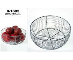 DonRegaloWeb - Frutero redondo de metal decorado en color metal envejecido