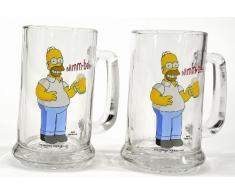 United Labels 117604 - Juego de vasos de cerveza (330 ml) + abridor, diseño de Los Simpsons