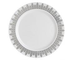 Decorline-Vajillas desechables Partido plato Platos de plástico blanco con borde de plata de plástico resistente vajillas desechables - Ornament Collection(Placa de 22 cm)