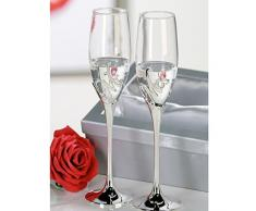 "Casablanca - 2er-juego de copas de champán ""Mr, + Mrs."" de metal/cristal , Plata en caja de regalo plateado altura 27 cm , Diámetro 7 cm"