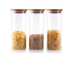 Rachel's 900ml Vidrio Alto de Borosilicato Cilindro Hermético Almacenamiento de Alimentos Envase Frasco Tarro con Tapa de Bambú & Anillo de Sellado de Silicona, Paquete de 3