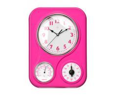 Premier Housewares - Reloj de pared con termómetro y temporizador de cocina, color rosa
