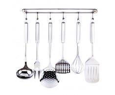 Set de 6 utensilios de cocina y colgador - acero inoxidable
