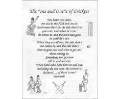 "Trapo de cocina, diseño de ""The 'ins' and 'outs' of cricket"" en inglés"