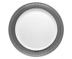 DECORLINE Luxe vajilla de plástico estable plato de papel blanco con borde de plata -Symphony Colección (Placa de 19 cm)