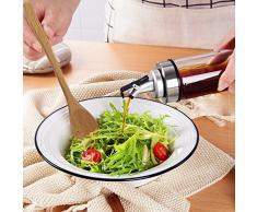 TIMGOU - Dispensador de aceite de oliva con cuchara para ensalada de madera de 9,3 cm, sin plomo, recipiente de aceite para botella de vidrio sin goteo para peluquería, vinagre balsámico, salsa de soja
