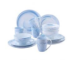 vancasso Clara Juego de Vajillas 16 piezas,Vajilla de Porcelana, Platos Azules, Taza de Café, Platos, Cuencos de Cereales para 4 Personas Dibujo Espiral