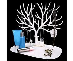 PIXNOR Organizador de joyas colgantes pulsera collar anillo de soporte bandeja decorativo ciervo Antler diseño de árbol blanco)