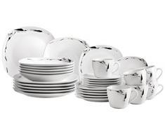 Domestic by Mäser, Serie Loni, juego de café 18 teilig con 6 tazas, platillos y platos de postre, y atemporal diseño elegante porcelana deja espacio para accesorios