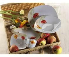 Domestic 920834 - Vajilla de Porcelana de 6 Servicios (30 Piezas), Color Blanco con Flores