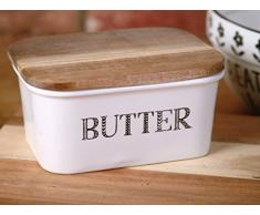Creative Tops - Mantequillera «Bake Stir It Up» con Tapa de Madera de Acacia, Color Blanco, tamaño Grande