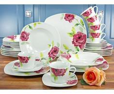 Creatable 19710 Serie Amelie French Rose, Vajilla, porcelana, multicolor, 35 x 30 x 33 cm, 30 unidades