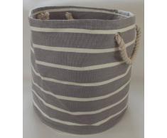 Grande y redondo bolso plegable suave para la ropa, lavandería, lavado y almacenamiento de juguete. Gris claro y crema diseño