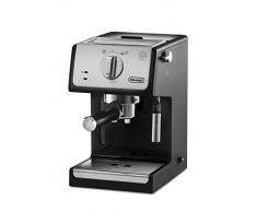 Delonghi - Cafetera de Bomba Tradicional para Espresso y Cappuccino, para Café Molido y Monodosis, 2 Tazas Simultáneamente, Depósito de Agua de 1.1 l, 1100 W, ECP 33.21, Negro y Plata