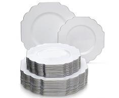 VAJILLA PARA FIESTAS DESECHABLE DE 40 PIEZAS | 20 platos grandes y 20 platos para ensalada o postre | Platos de plástico resistente | Elegante aspecto de porcelana fina (Baroque Collection – Blanco)