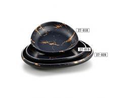 Vajilla 100% Melamina durable estilo INS, vajilla de efecto superficial de mármol negro, apto para lavavajillas, portátil para acampar,B