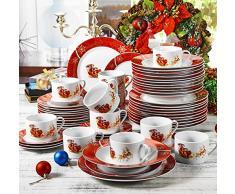 VEWEET 'Christmas' vajilla de Porcelana 18 Piezas | Plato para 6 Personas | Cada uno con 6 Platos de Postre, platillo y Plato Plano (Deer-60)