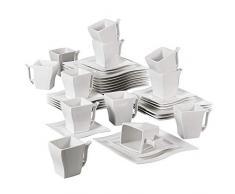 MALACASA, serie Flora, Vajilla de Porcelana 36 Piezas Juego de Café Juego de Vajilla con 12 Platos, 12 Tazas 220ml, 12 Platillos para 12 Persona