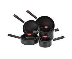 AmazonBasics Juego de utensilios de cocina, sartenes y ollas de inducción, antiadherentes, 5 piezas de aluminio con función de colado