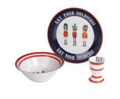 Think Pink - Juego de vajilla para niños de porcelana con bol, plato y huevera, diseño de soldados