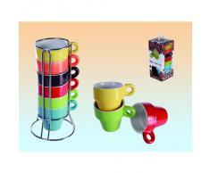 SalesFever - Juego de tazas de café y soporte (6 unidades), varios colores