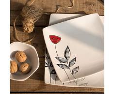 SUNXK De Estilo japonés de Loto Pintado a Mano Restaurante de vajilla de cerámica de Carne casa Hexagonal Recipiente Cuadrado Plato Caidie Marca de la Taza (Color : 10.5 Inch Market)