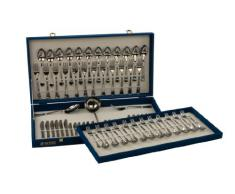 Monix Oslo - Set 75 piezas cubiertos de acero inox 18/10 con cuchillo chuletero, estuche normal