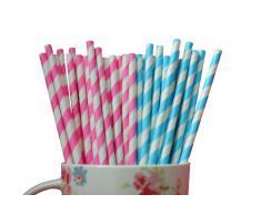 Pajitas de Papel a Rayas Diagonales Rosas - 25 Unidades
