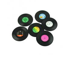 Malloom® 6pieces / Set Spinning retro del disco de vinilo bebidas Posavasos Mat