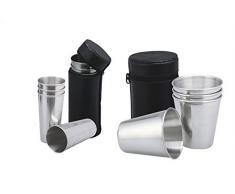 GMMH - Set de vasos de camping (para petacas, acero inoxidable, 4 vasos por cada set, 2 unidades)