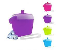 Cubitera con tapa y pinzas, capacidad 2 litros (diámetro x altura: 17,5 x 19,5 cm), de plástico – azul, verde, rosa o morado