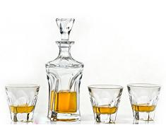 Juego de cristal Whisky 600 ml decantador a juego 6 x 230 ml vasos Apollo