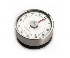 H & H Alessandro Borghese temporizador de cocina, acero, negro, diámetro 6 cm