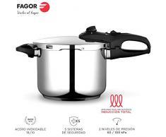 Fagor Duo Olla a presión Super rápida, Acero Inoxidable 18/10, Todo Tipo de cocinas, INDUCCION Total. Fondo termodifusor IMPAKSTEEL máxima Resistencia, 5 Sistemas Seguridad, 2 Niveles de presión (6L)