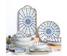 Cuenco TONGTONG SHOP Plato Vajilla de Estilo japonés Hogar Creativo Irregular Cena Plato Plato Pescado Traje de cerámica y Viento Textura en Relieve (Color : Set)