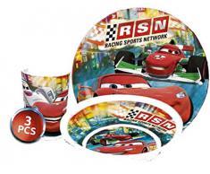 Disney Cars Niños Service con plato, cuenco y taza de melamina