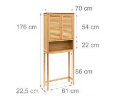 Relaxdays Lamell bambú lavadora armario, suelo unidad de almacenamiento, armario de baño con puertas con alas y 3 estantes, madera, Natural marrón, 170 x 70 x 22,5 cm)