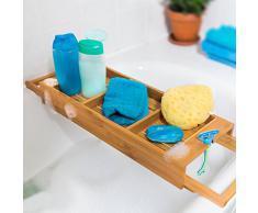 Relaxdays 10019196 Bandeja para bañera Extensible de bambú, 7 x 67,5 x 21 cm Ancho Ajustable para Cualquier bañera y 2 Soportes, Color marrón