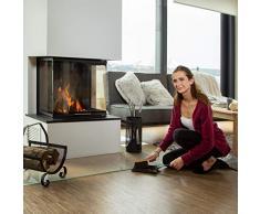 Relaxdays Gusseisen, Kehrset mit Handfeger, Handschaufel, Lochung, Outdoor und Indoor Recogedor para Chimenea con Cepillo, Negro, 37x18x10 cm